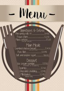 menu flattened